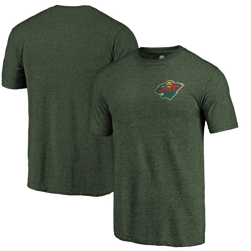 "Minnesota Wild - Tričko ""Primary Logo Left Chest"" - rozmázlé, tri-blend, zelené"